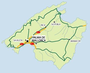 Mallorca map of mallorca Balearic island Spains